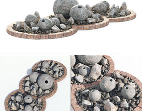 3D model Flowerbed sphere stone decor