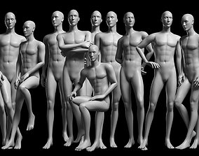 3D model game-ready Animated Male Base Mesh - 12 poses