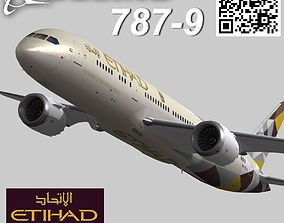 3D model Boeing 787-9 Etihad airways livery