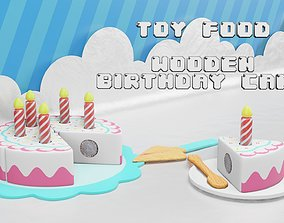 Toy Food - Wooden Birthday Cake - Playset for 3D model