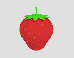 Low Poly Cartoon Strawberry 3D asset game-ready