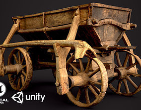 3D asset Old Wooden Cart