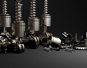 3D asset Piston Motor car