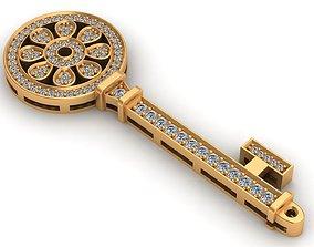 Tiffany Flower Gold Key Pendant 3D print model