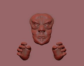 3d print wall sculpture angry face body