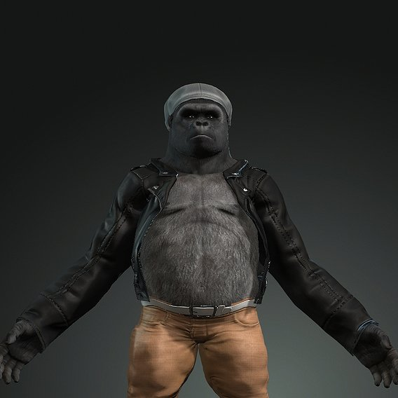 3d Strong Horror Gorilla Animal Model with Textures