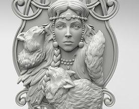 Freya panel by Scandinavian mythology 3D print model