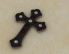 joy diamond cross pendant 3D printable model