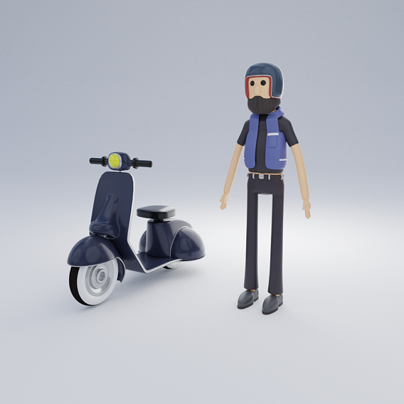 Biker character cartoon game Low-poly