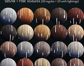20 Striped Wood Materials 02 - SBSAR - PBR Maps - 3D asset