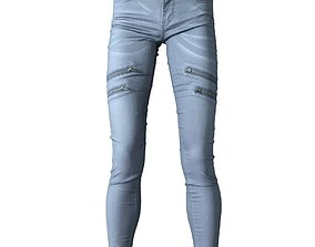 3D asset Grey jeans trousers with zippers