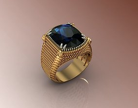 3D print model ring with stone cushion
