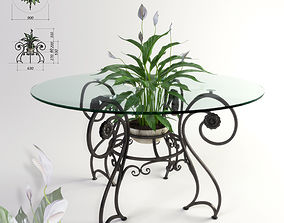 Forged table and plant Spathiphyllum 3D