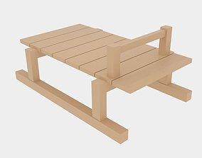 Simple Wood Sledge 3D model