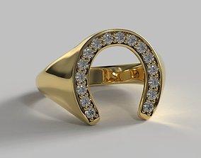 Horseshoe Signet Ring 3D print model