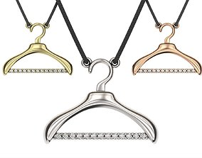 Gold hanger necklace 3d print model Modern jewelry Gold