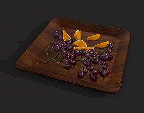 Grapes and Orange Slices Plate 3D model