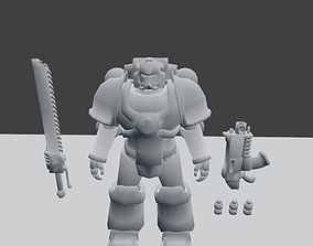 Space Marine Mk4 with Weapon 3D asset