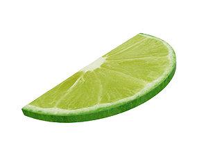 3D Lime round slice half