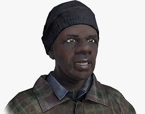 Lowpoly Afro American Homeless 3D asset