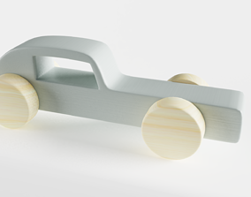 Wooden Toy Car 3D model blue