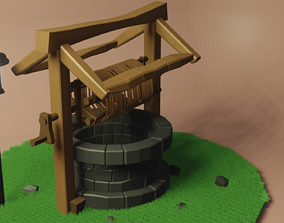 3D model Low poly well as old style