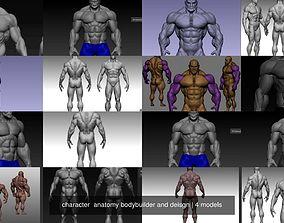 3D model character anatomy bodybuilder and deisgn
