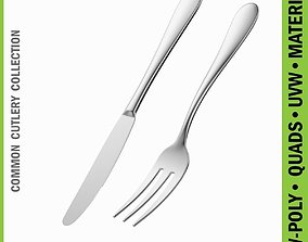 3D model Dessert Knife and Fork Common Cutlery