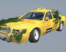 3D model VR / AR ready New York Taxi destroyed