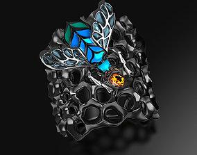 Blue Bee enamel ring 3D printable model