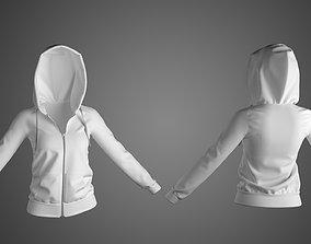 Ladies Hoodie in Marvelous Designer person 3D model