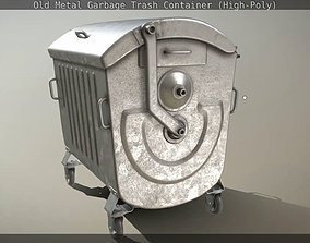 3D Old Metal Garbage Trash Container High-Poly