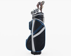 3D Golf Bag and Clubs