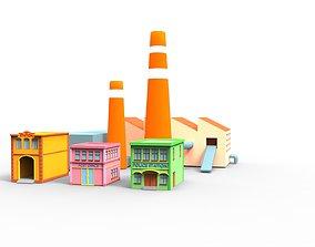 3D model Town building cartoon