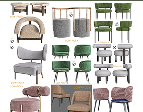 Chair collection 10 pieces 3D asset low-poly