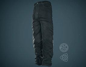 3D model Black Baggy Jeans Pants