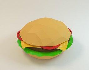 3D asset hamburger cheeseburger low poly style