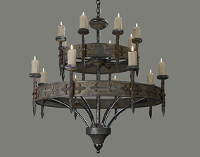 3D asset VR / AR ready Candle Chandelier A