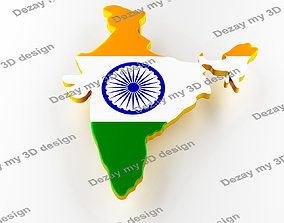 Map of India land border with flag 3D