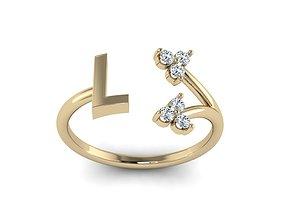 3D print model Jewelry Alphabet Ring L with Diamonds