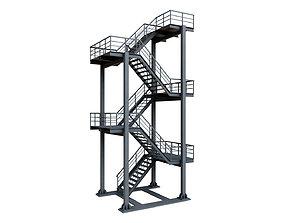 3D model Grey Industrial Stair