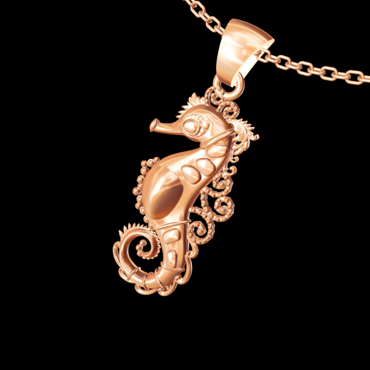 Seahorse Sculpture pendant jewelry gold necklace 3D print model