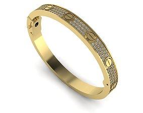 3D print model Cartiero bracelet pave diamond