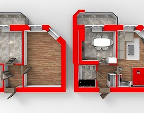 3D Floor Plan Section of apartment