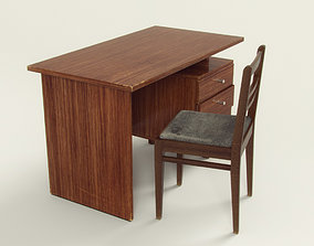 Old table and chair 3D model realtime