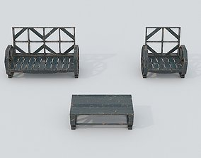 Wooden Bench and Table PBR 3D model
