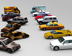 3D model Cars set lowpoly