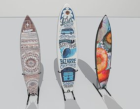 3D model low-poly surfboard sports