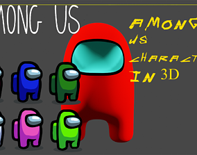 rigged Among Us Character in 3D among