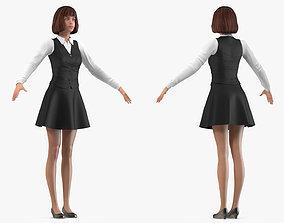 Teenage Girl School Uniform Neutral Pose 3D